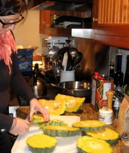 Eve cutting the Hubbard Squash for soup