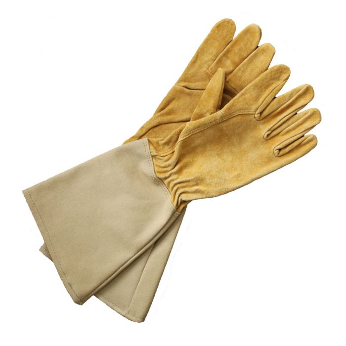 Manswork Leather Gauntlet Glove with Canvas Cuff